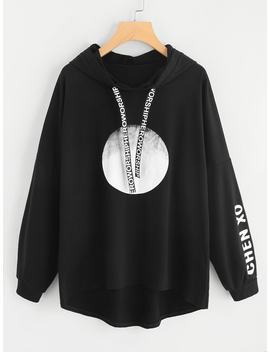 Plus Letter Print Hooded Sweatshirt by Romwe