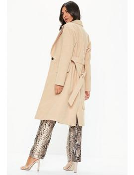Cream Longline Belted Coat by Missguided
