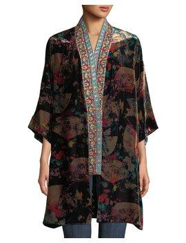 Fusai Reversible Printed Kimono W/ Embroidered Trim, Plus Size by Johnny Was
