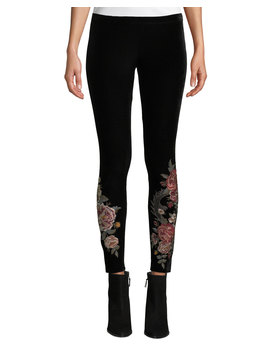 Dragon Stretch Velvet Leggings W/ Embroidery, Plus Size by Johnny Was