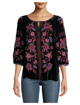 Marcella Velvet Peasant Blouse, Plus Size by Johnny Was