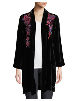 Marcella Velvet Long Jacket, Plus Size by Johnny Was