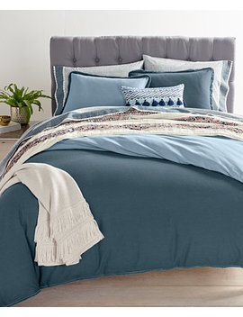 Closeout! Cotton Linen Reversible Steel Blue Bedding Collection, Created For Macy's by Whim By Martha Stewart Collection