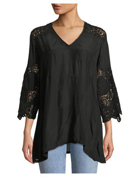 Jay Jay V Neck Top With Crochet Detail, Plus Size by Johnny Was