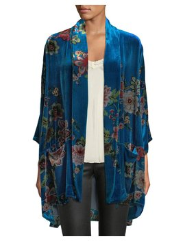 Vivian Printed Velvet Kimono Jacket, Plus Size by Johnny Was