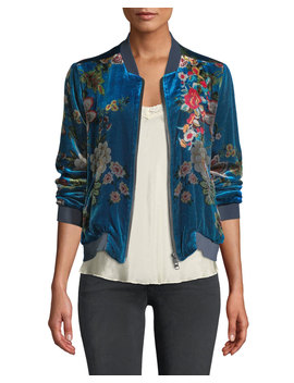 Vivian Floral Print Velvet Bomber Jacket, Plus Size by Johnny Was