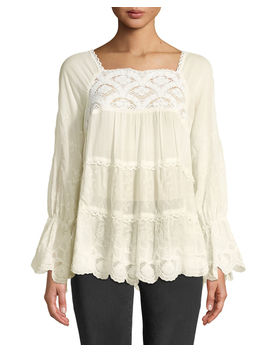 Alora Lace Trim Tiered Blouse, Plus Size by Johnny Was
