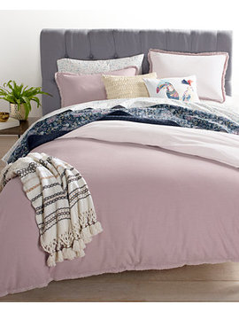 Closeout! Cotton Linen Mauve Bedding Collection, Created For Macy's by Whim By Martha Stewart Collection