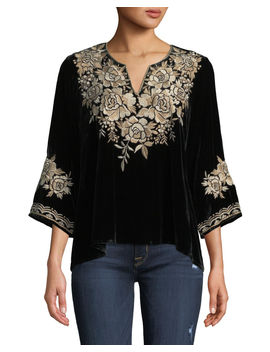 Ollena Floral Embroidered Velvet Top, Plus Size by Johnny Was