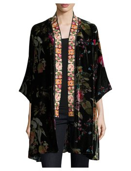 Kehlani Reversible Velvet Kimono W/ Embroidery Trim, Plus Size by Johnny Was