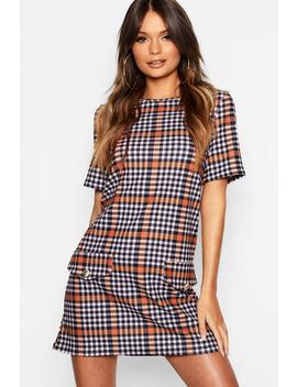 Checked Gold Button Detail Shift Dress by Boohoo