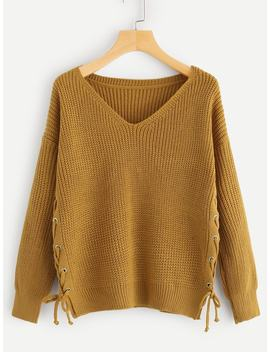 Solid Lace Up V Neck Jumper by Sheinside