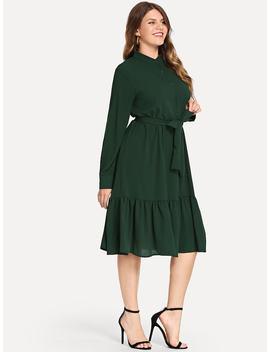 Plus Solid Belted Ruffle Hem Dress by Sheinside