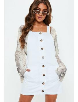 White Horn Button Through Denim Pinafore Dress by Missguided