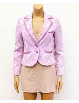Marciano By Guess Pink Lavender Leather Trim Brocade Floral Blazer Suit Jacket 6 by Marciano