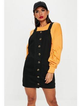 Black Horn Button Through Denim Pinafore Dress by Missguided