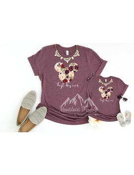 Fast Shipping Heather Maroon Mommy And Me Disney Shirt Watercolor Glitter Floral Mickey Shirt / Disney World T Shirt / Disneyland Tee 013 by Etsy