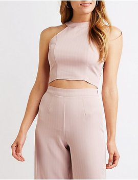 Pinstriped Bib Neck Crop Top by Charlotte Russe