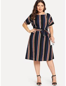 Plus Colorblock Striped Dress by Sheinside