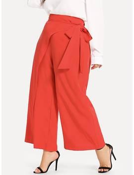 Plus Tie Waist Wide Leg Pants by Shein
