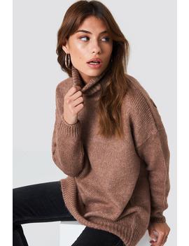 Sweter Oversize Z Golfem Dusty Dark Pink by Na Kd