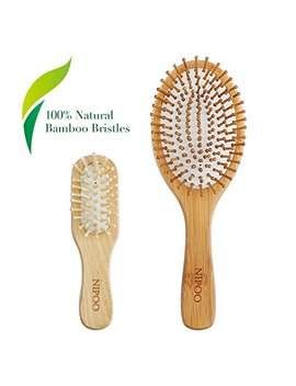 Nipoo Natural Wooden Paddle Hair Brush + Free Mini Travel Brush   Eco Friendly Bamboo Bristle Detangling Hairbrush... by Nipoo