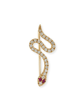 Pave Diamond & Ruby Snake Wire Earring by Sydney Evan