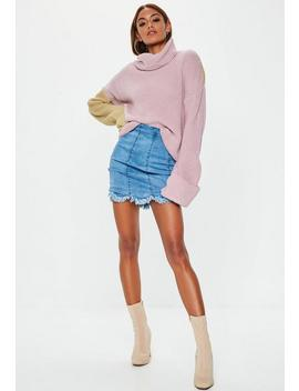 Pink Colourblock Roll Neck Turn Back Jumper by Missguided