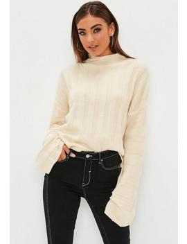 Cream High Neck Ribbed Knitted Jumper by Missguided