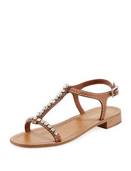 Embellished Flat Leather Sandal by Prada