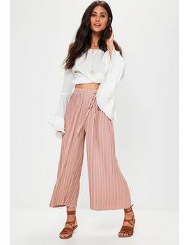 Petite Pink Pleated Skinny Tie Belt Culottes by Missguided