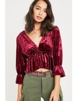 Uo Velvet Blouson Top by Urban Outfitters Shoppen