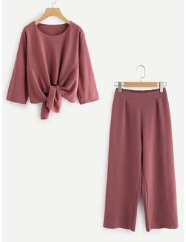 Plus Knot Front Solid Top & Pant by Sheinside