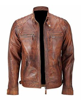 Mens Distressed Brown Classic Diamond Leather Jacket by Finest Collections