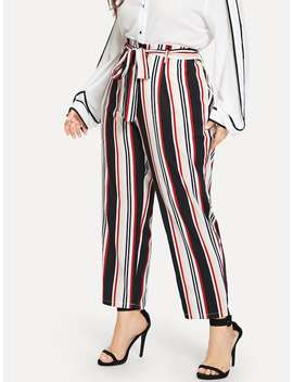 Plus Self Tie Striped Pants by Sheinside