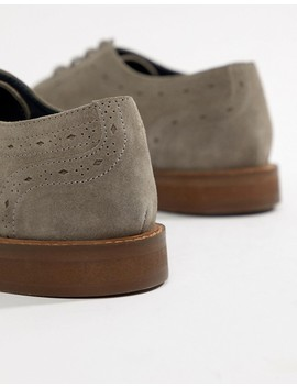 Dune Brogues In Gray Suede by Dune