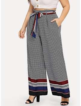 Plus Striped Hem Dot Print Wide Leg Pants by Shein