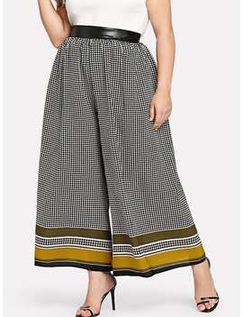 Plus Striped Hem Wide Leg Pants by Shein