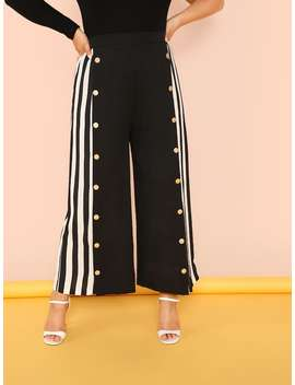 Plus Snap Button Front Striped Palazzo Pants by Shein