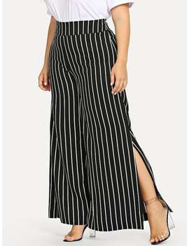 Plus Slit Hem Striped Pants by Sheinside