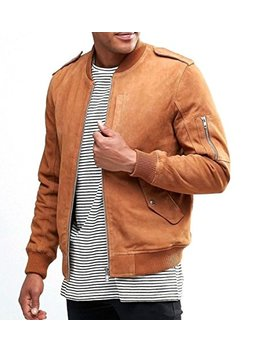World Of Leather Lambskin Suede Leather Jacket Cognac Tan Bomber Biker Slim Fit by World Of Leather