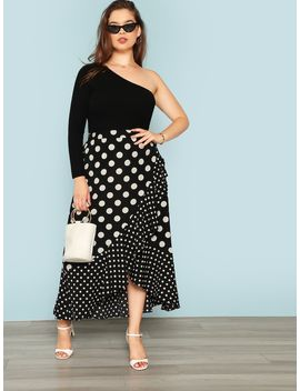 Plus Polka Dot Print Ruffle Wrap Skirt by Shein