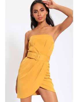 Mustard Belted Bandeau Mini Dress by I Saw It First