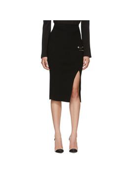 Black Slit Rib Knit Safety Pin Skirt by Versus