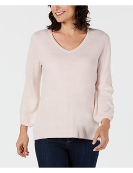 V Neck Puff Sleeve Sweater, Created For Macy's by Karen Scott
