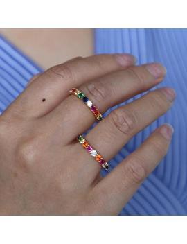 Rainbow Ring, Rainbow Stone Eternity Band, Rainbow Stacking Ring, Rainbow Ring, Multi Color Gem Ring by Etsy