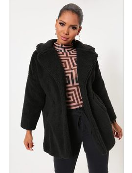 Black Button Front Teddy Borg Jacket by I Saw It First
