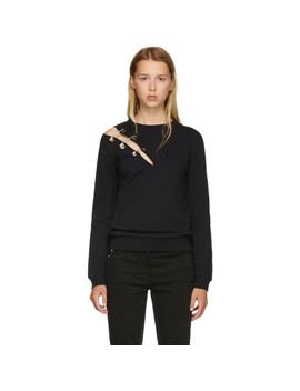 Black Safety Pin Slit Sweatshirt by Versus
