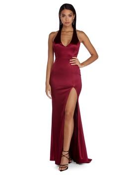 Erin Formal Satin Halter Dress by Windsor