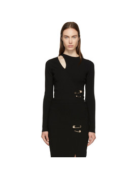 Black Ribbed Slit Sweater by Versus